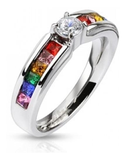 Anillo Acero Compromiso Orgullo Gay Arcoiris