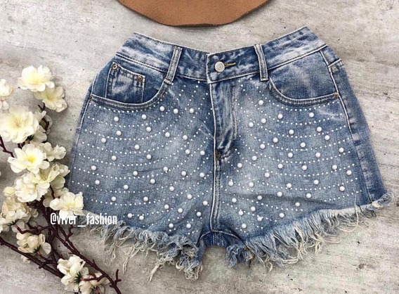 Short Jeans Feminino Bordado Com Pérolas Cintura Alta