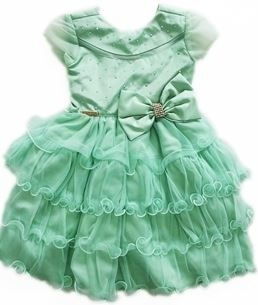 Vestido Infantil Festa Verde Strass
