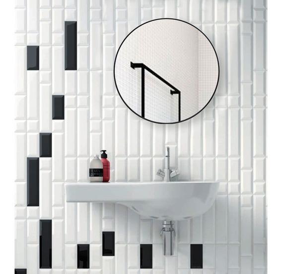 Espejo Baño Redondo 50 Baño Living Colgante Reflejar Black