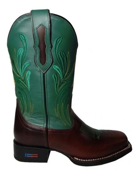 Bota Texana Masculina - Bico Quadrado - Smith Brothers - Pé Marrom Bordado Verde - Cano Verde Bordado