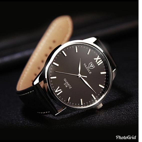 Relógio Masculino Pulso Social Yazole Couro Luxo Barato N2
