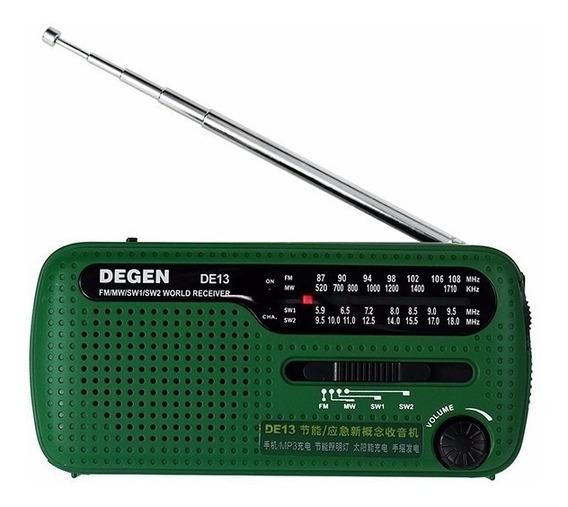 Rádio Degen De13 Energia Solar Dínamo Lanterna