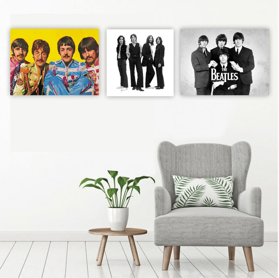 Placa Quadro Mdf Kit The Beatles Banda Rock Música Poster
