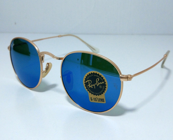 Óculos De Sol Redondo Round Retro Vintage Masculino Feminino Azul Espelhado Tamanho 50 M