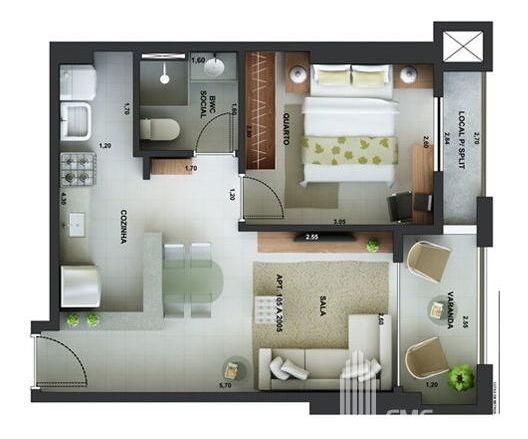 Apartamento Padrão Com 1 Quarto No Edf. Res. Boa Vista - Vd1443-v