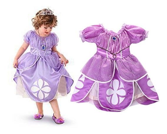 Fantasia Roupa Infantil Menina Vestido Princesa Sofia Broche