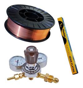 Kit Solda Arame 5kg + Regulador Argonio + Eletrodo 2,5mm