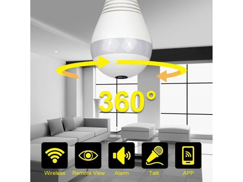 Cámara Panorámica Vr Tipo Bombillo Wifi 360° Led Espia Hd