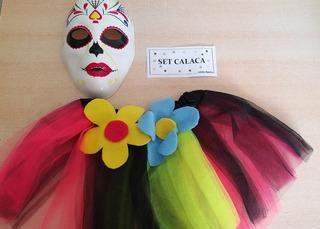 Set Disfraz Calaca Tutu Y Máscara Para Niña Halloween