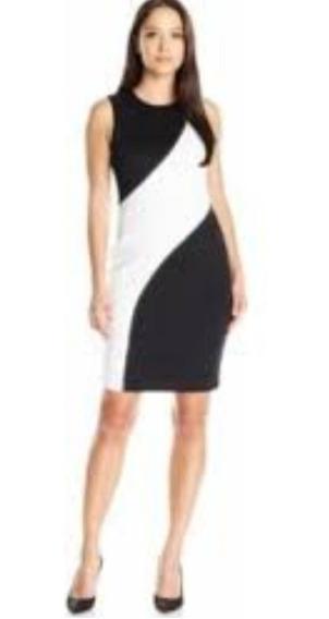 Calvin Klein Vestido Elegante Blanco Y Negro Talla 12