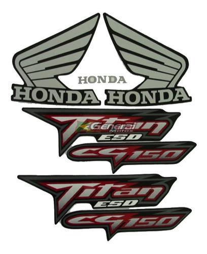 Kit Adesivo Jogo Faixas Moto Honda Titan 150 2008 Esd Preta