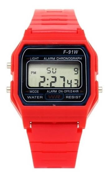 Reloj Para Hombre Everite Retro Unisex Reloj Digital Para Mujer Vintage Digital Cronometro Alarma - Color Rojo