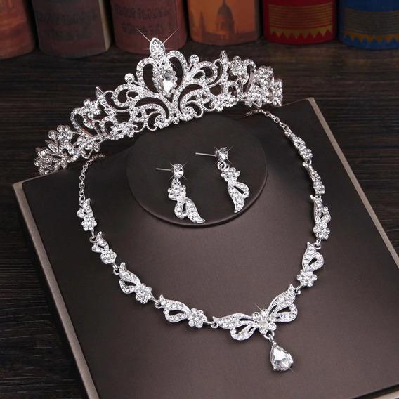 Joyas Corona Collar Aretes Cristales Novias Xv Años Fiesta.a