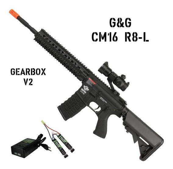 Airsoft Air Soft Rifle Fuzil Aeg Bivolt 6mm G&g Cm16 R8-l V2