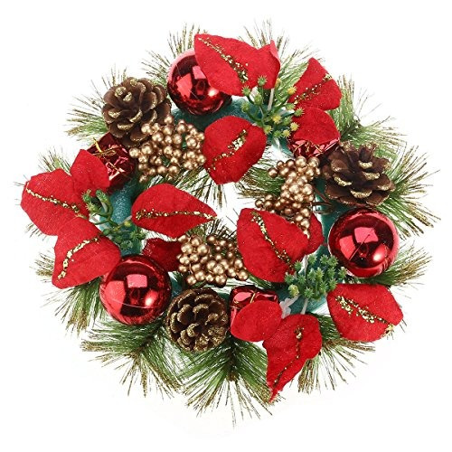 Puerta De Navidad Corona De Navidad Con Piñas Poinsettia Na