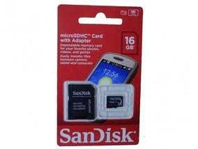Cartão Micro Sd 16gb Sandisk C/ Adaptador Sdsdqm-016g-b35a