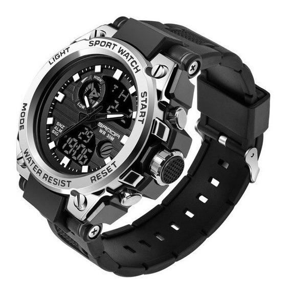 Relógio Masculino Esportivo Militar Digital Silicone Prata