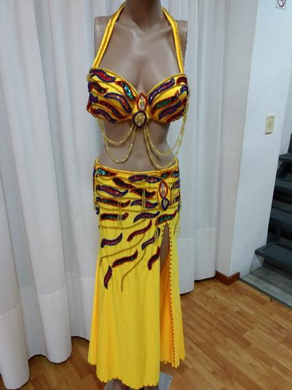 Traje Danza Árabe Bellydance Odalisca Amarillo Importado