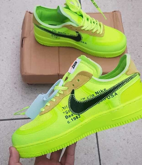 Tênis Nike Air Force 1 Off White Volt Verde Offwhite