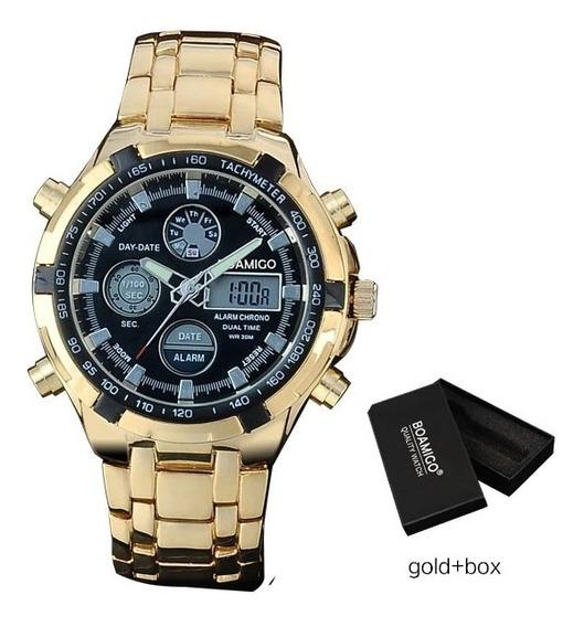 Relógio Dourado Masculino Boamigo F20 Militar