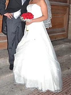 Vestido Novia Con Corset , Color Ivory ,talla L