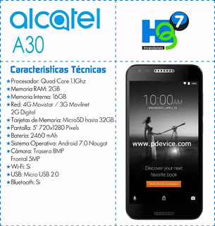 Teléfono Alcatel A30 Desbloqueado Pantalla 5 Pulgadas Oferta