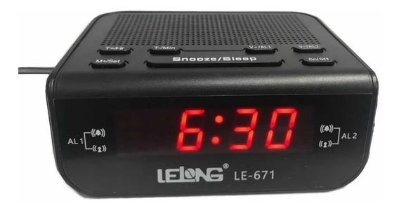 Rádio Relógio Digital Despertador Alarme Duplo Lelong Le-671