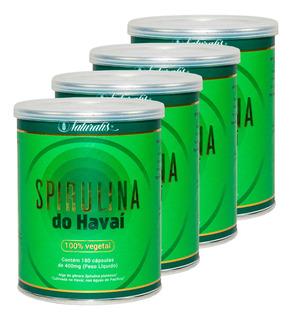 Kit 4 Spirulina Do Havaí 100% Vegetal 180 Cápsulas Naturalis