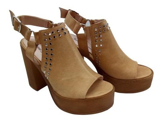 Zapatos Mujer Cuero Sandalias Tachas Plataforma Moda M70