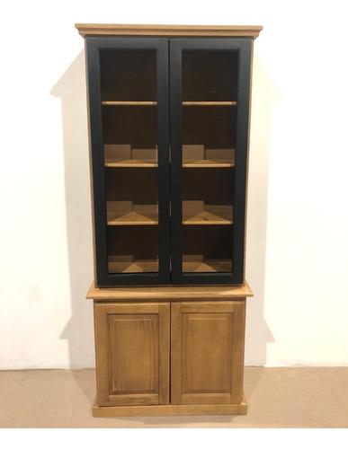 Biblioteca-cristalero-modular-aparador-mueble-madera Maciza