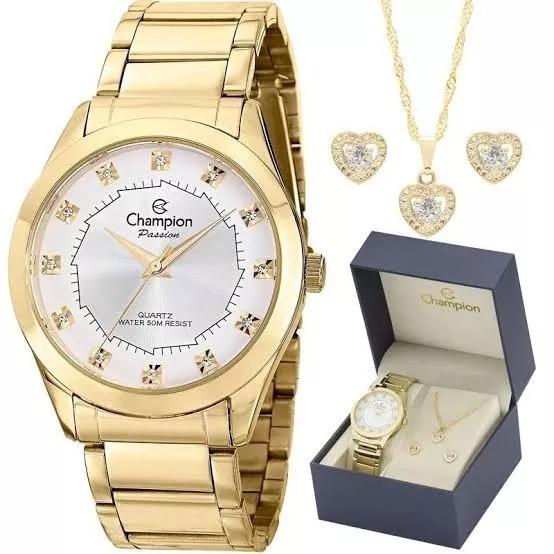 Relógio Champion Feminino Dourado Cn25396w Com Semi Jóias Fg