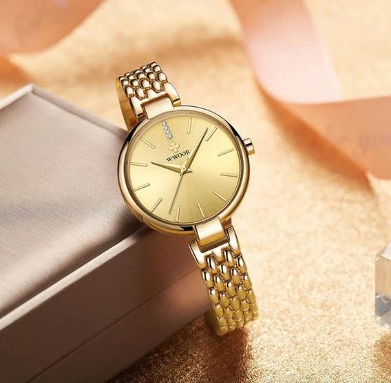 Relógio Feminino Analógico Dourado Wwoor Promoção Das Mães