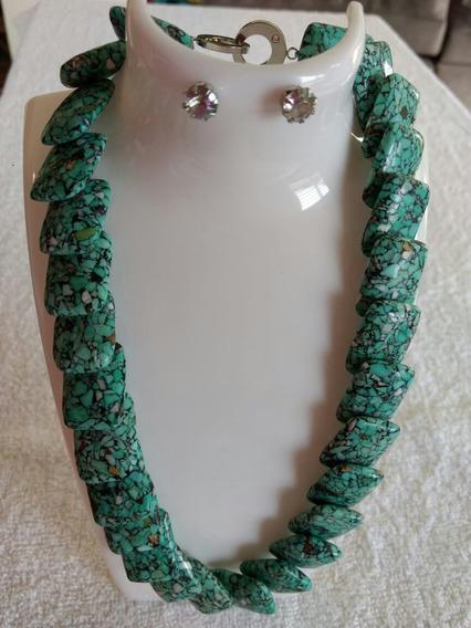 Maxi Colar Pedra Fria Verde Brinco
