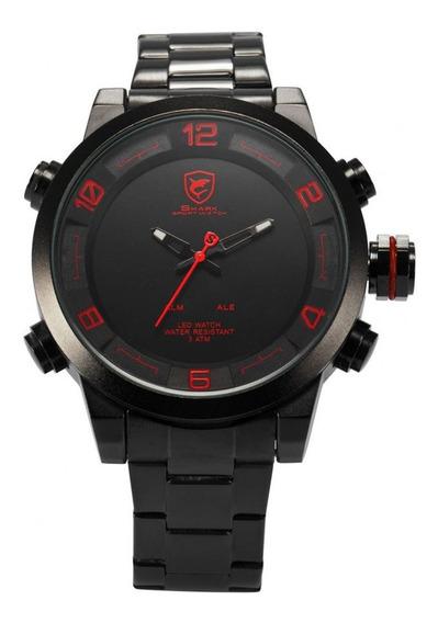 Relógio Masculino Shark Anadigi Sh-360 - Preto E Vermelho