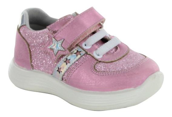 Tenis Para Niña Con Agujeta Y Velcro Color Rosa Con Estrella