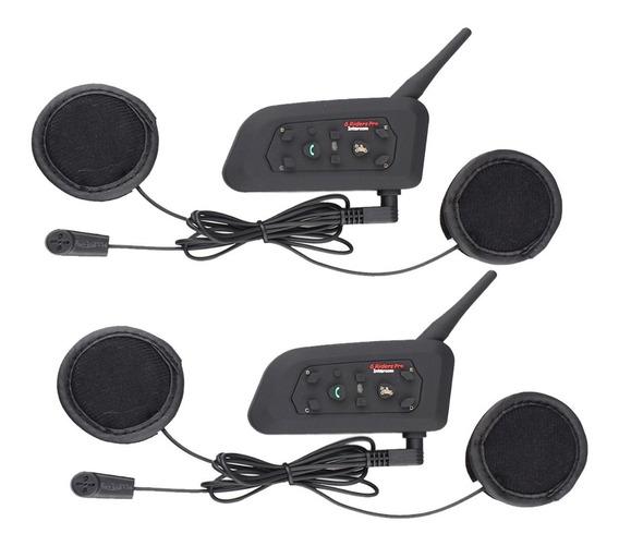 Kit Par Intercomunicador V6 Bluetooth 1200mts Moto Casco