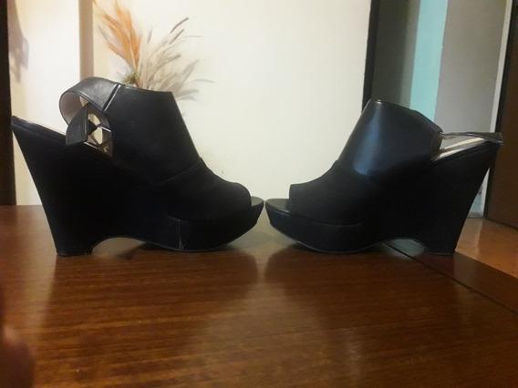 Sandalias De Plataforma..nine West Talla 36 Color Negro