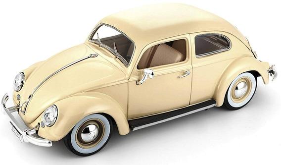 Carro Miniatura - Volkswagen - Kafer Beetle - 1/18 - Bege -