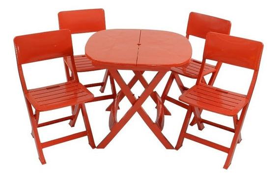 Jogo 1 Mesa 6 Cadeira Dobrável Plástico Varanda Área Externa