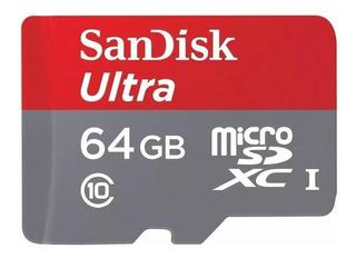 Cartão de memória SanDisk SDSQUNC-064G-GN6MA Ultra com adaptador SD 64GB