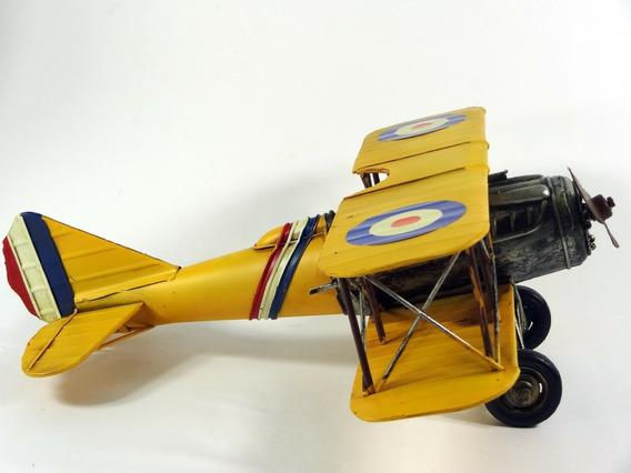 Miniatura Avião De Guerra Retro Em Lata - 36,50 Cm - Laverne
