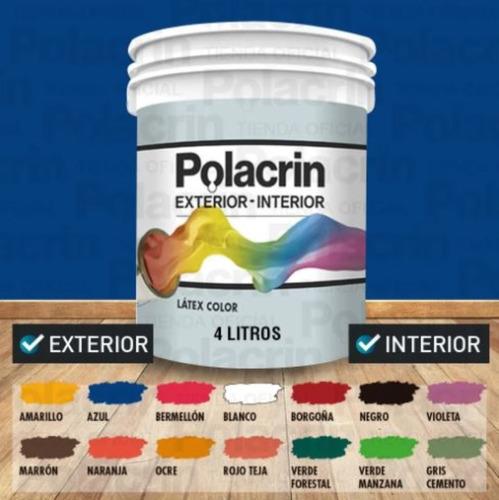 Latex Color Interior Exterior Polacrin Lavable 4 Lts Premium