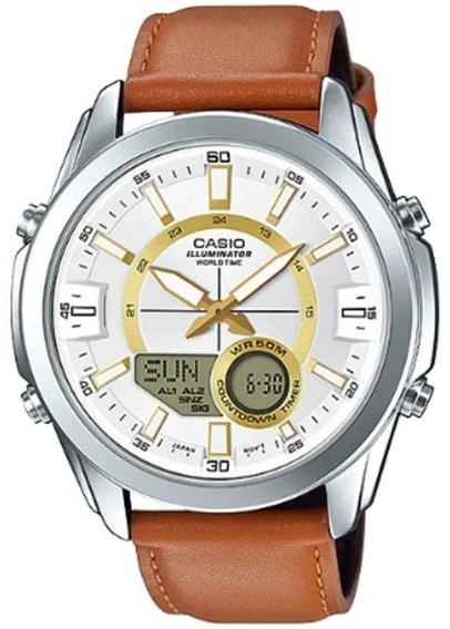 Relógio Casio Masculino World Couro - Amw-810l-5avdf