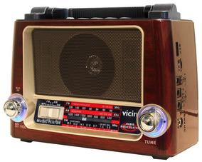 Rádio Vintage Bluetooth Pendive Lanterna Am Fm Bivolt Vicini