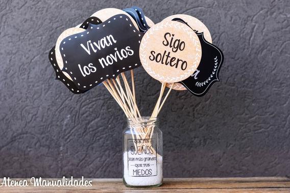 Props X 30 Casamiento Fiesta Boda Evento Cartelitos Selfie