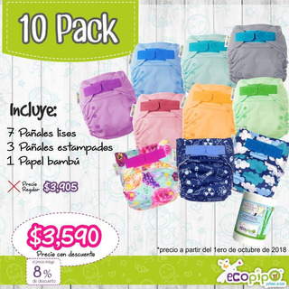 10 Pack Ecopipo Unitalla (pañales Ecológicos, De Tela)