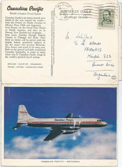 Antigua Postal Avión Canadian Pacific- Britannia 1959