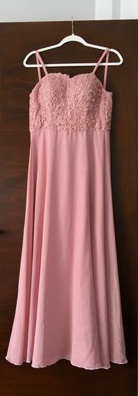 Vestido Largo De Fiesta, Rosa, Talle S, Origen Paris