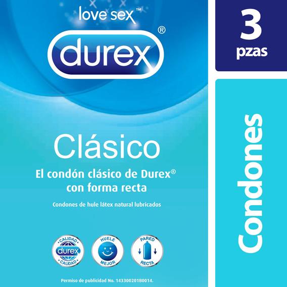 Durex Clásico Condones De Látex 3 Piezas